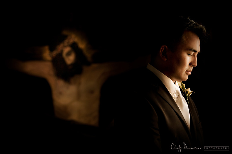 Groom in Sacristy of church in Playa Del Carmen, Mexico